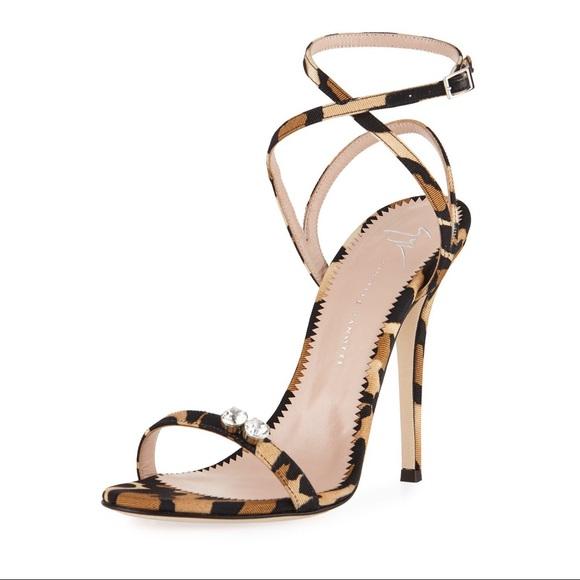 208775a51795 Giuseppe Zanotti Leopard Print Grosgrain Sandal